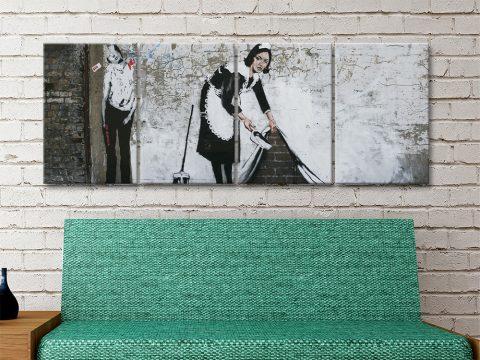 Banksy Maid Ready to Hang Split Panel Art