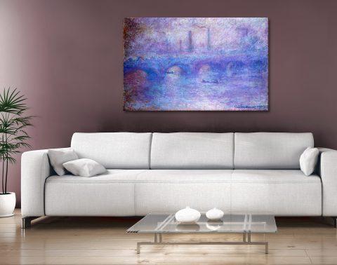 Claude Monet Waterloo Bridge Effect of Fog canvas wall art Australia