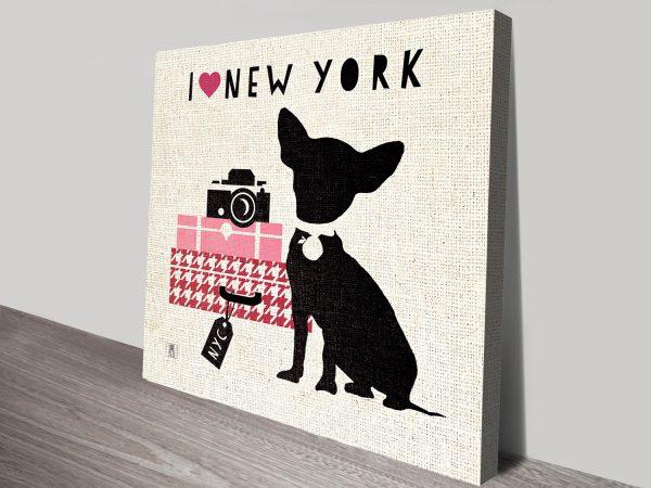 Lovely NY Wall Print With Chihuahua