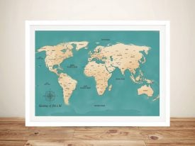 Custom Push Pin Travel World Map Word Picture Wall Art