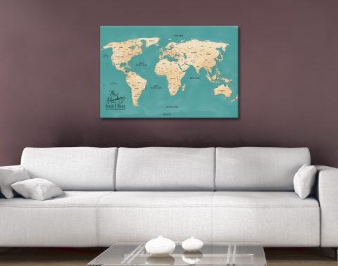 Teal Push Pin Map canvas wall art
