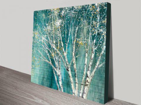 Beautiful Icy Blue Birch Wall Art