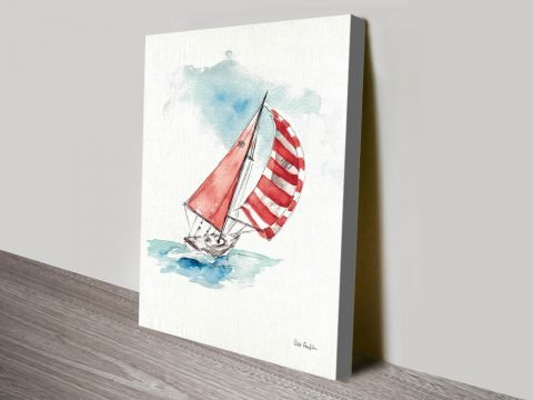 Pretty Seascape With Sailboat Captured On Canvas Just For You