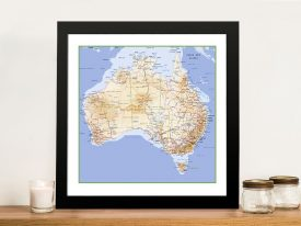 Australia topographical map Framed Wall Art