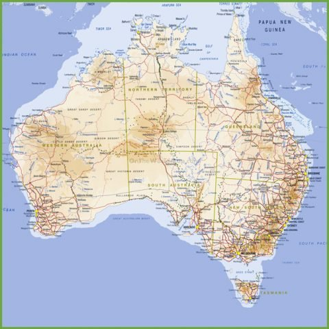 Australia Topographical Square Map Wall Canvas