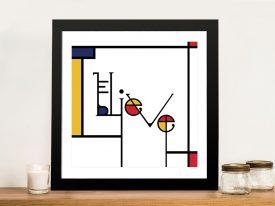 Futuracha - Believe Mondrian Typography Pop Art