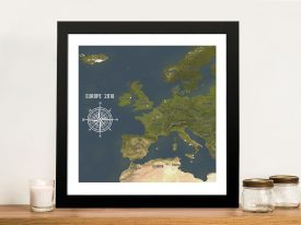 Custom Western Europe Map Charcoal Framed Push Pin Wall Artwork