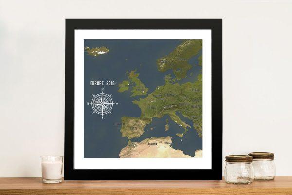 Custom Western Europe Map Charcoal Framed Push Pin Wall Artwork