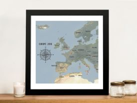 Custom Western Europe Map Cyan Framed Push Pin Wall Artwork