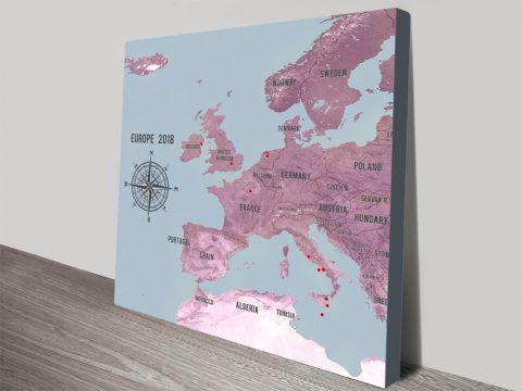 Personalised Western Europe Map Magenta