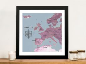 Personalised Western Europe Map Magenta Poster Pin Wall Art