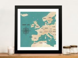 Custom Western Europe Map Teal Framed Art Print