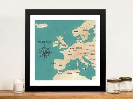Custom Western Europe Map Teal Framed Art Print