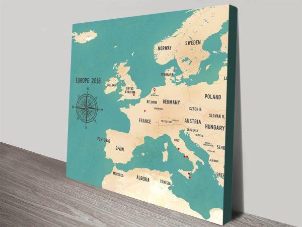 Custom Western Europe Map Teal Framed Wall Art