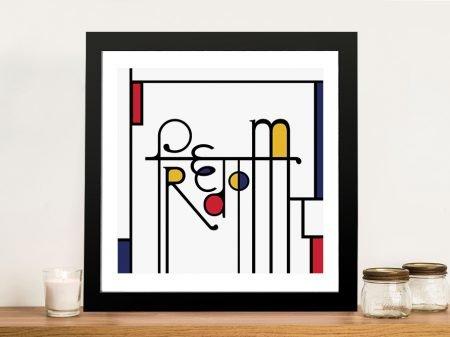Futuracha - Freedom Mondrian Typography Wall Art