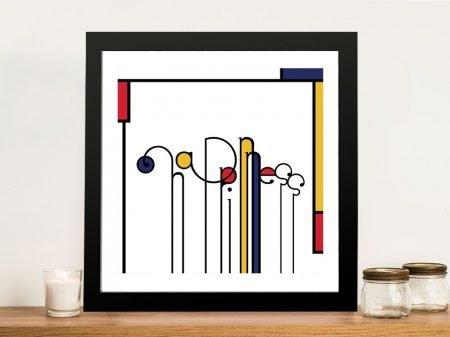 Futuracha - Happiness Mondrian Typography Wall Prints