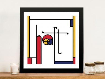Futuracha - Heart Mondrian Typography Pop Art