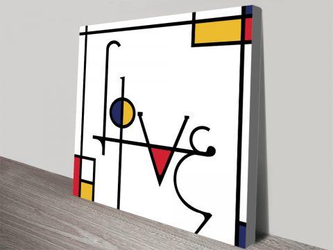 Love Futuracha Mondrian Typography Canvas Print