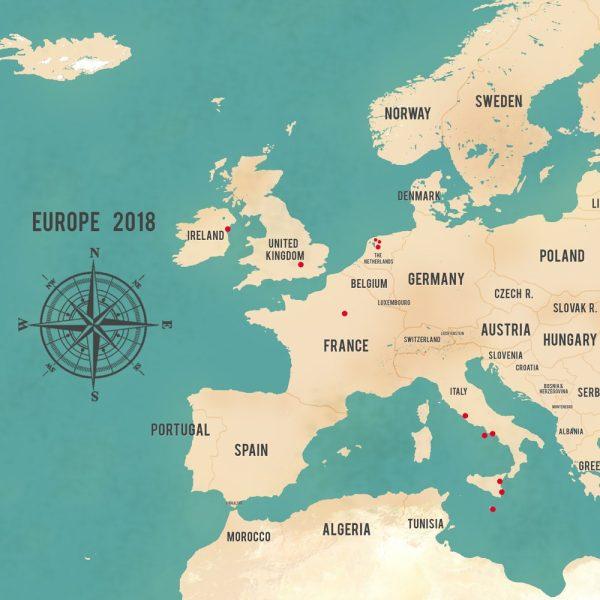 Personalised Western Europe Map Teal Framed Art