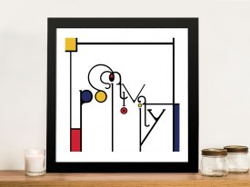 Futuracha - Positivity Mondrian Typography Canvas Wall Art
