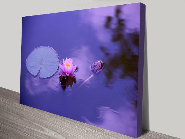 Vibrant Purple Lotus Flower Canvas Wall Art