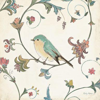 Birds Gem II Modern Vintage Wall Art By Emily Adams