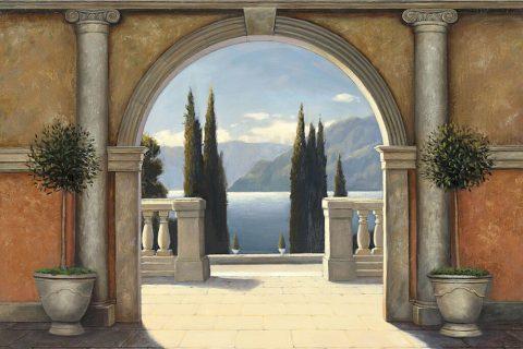 Italian Balcony Painting Print Ideal Gifts