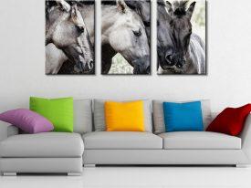 Four Konick Horses 3 Panel Wall Art