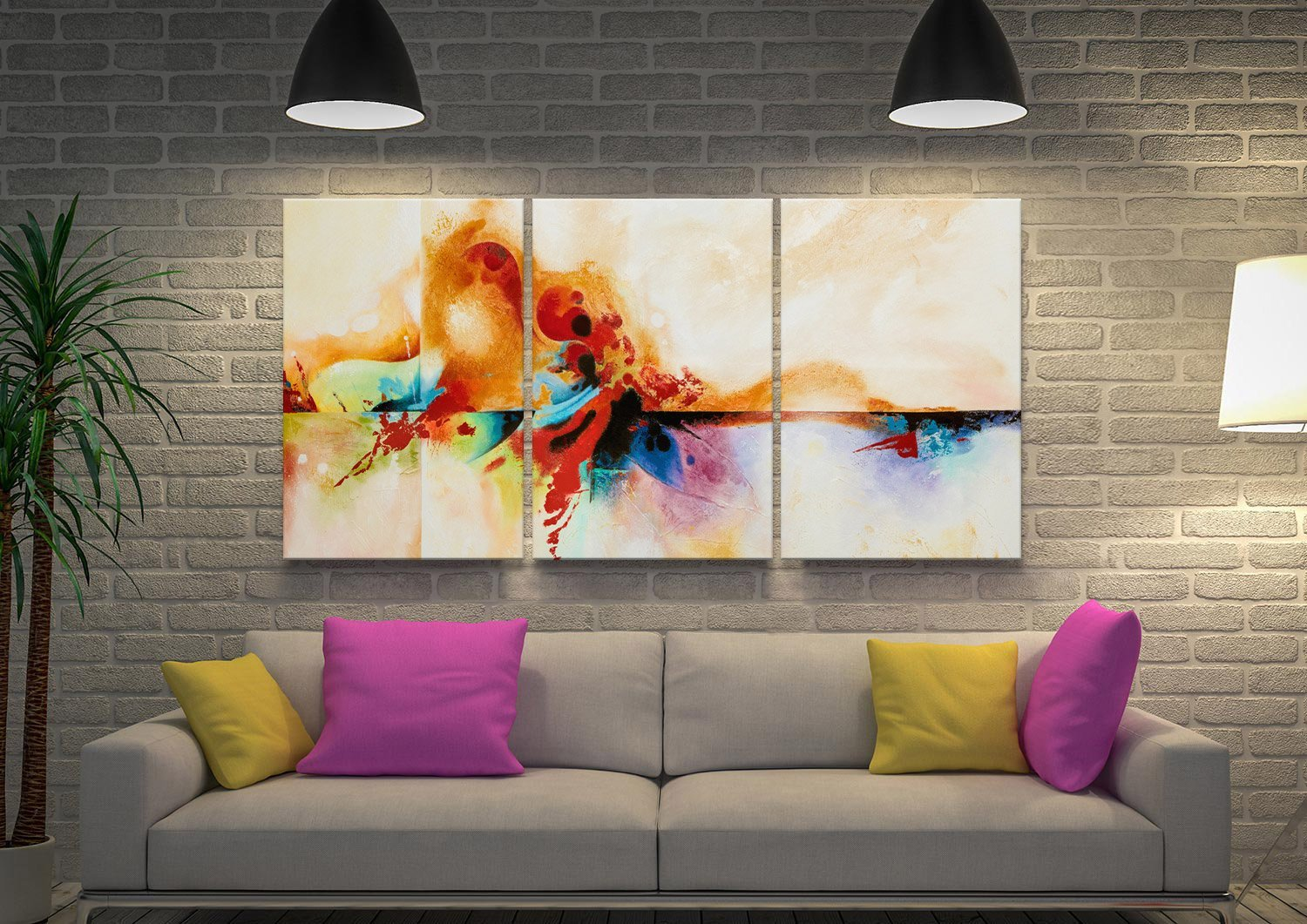 Abstract Triptych Split Canvas