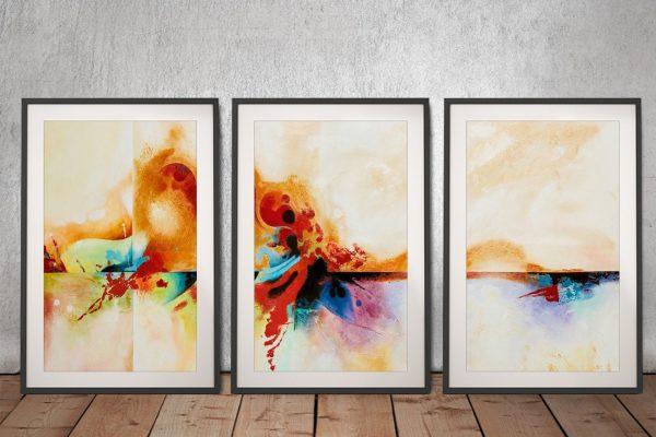 3 Piece Abstract Framed Artwork