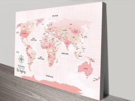 Pink Pushpin World Map Personalised Wall Art