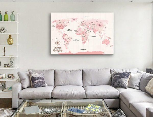 Pink Shades Custom World Map with Pins