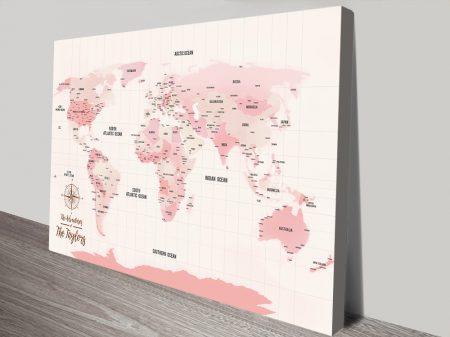 Pink Pushpin World Map Personalised Wall Art