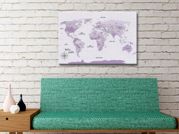 Personalised Push Pin Travel Cork World Map Wall Art