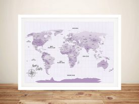 Custom Purple Shades World Map Framed Wall Art