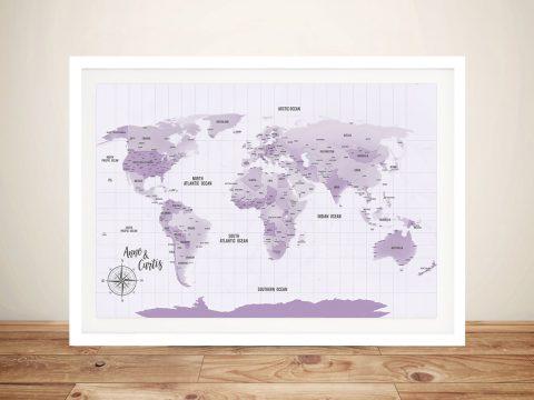 Custom Purple Shades World Map Framed Wall Art