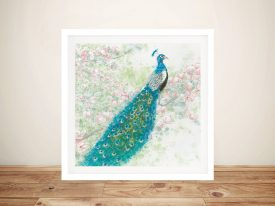 Spring Peacock l Pink Flowers Wall Art