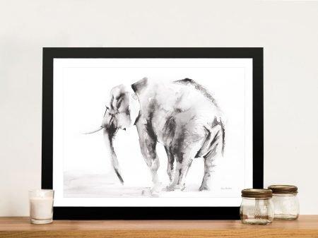 Lone Elephant Gray Wall Art Canvas