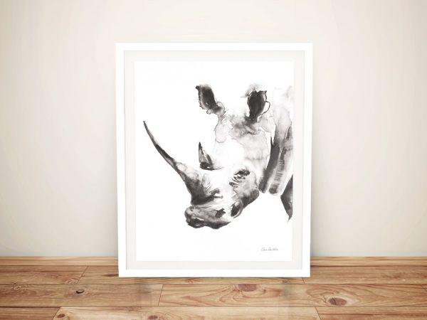 Rhino Grey Framed Canvas Art