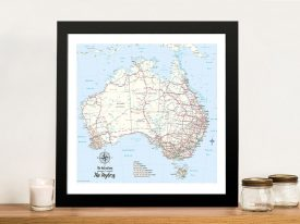 Custom Australia Topographic Framed Push Pin Wall Art