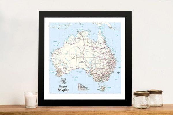 Custom Australia Topographic Framed Push Pin Wall Art