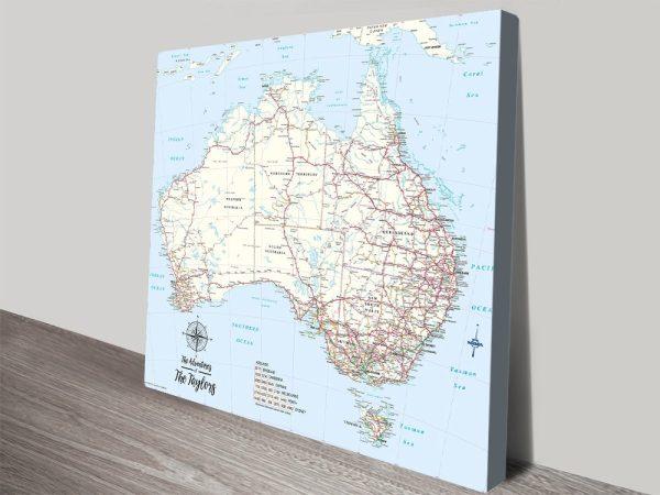 Custom Australia Topographic Push Pin Canvas Art