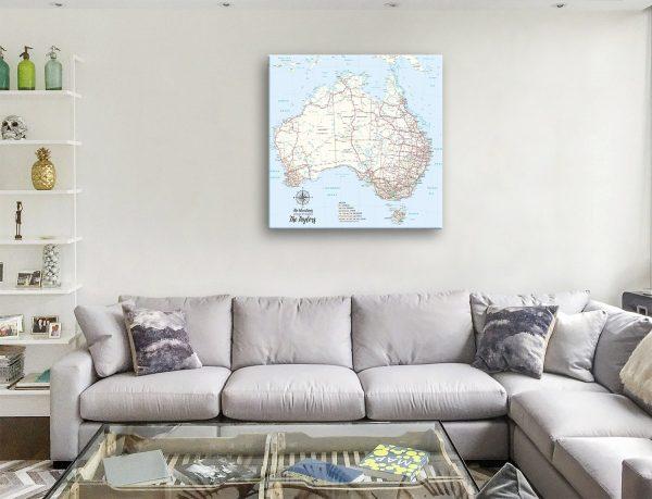 Personalised Australian Topographic Push Pin Canvas Art