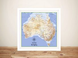 Australia Topographical Framed Wall Art with Pins
