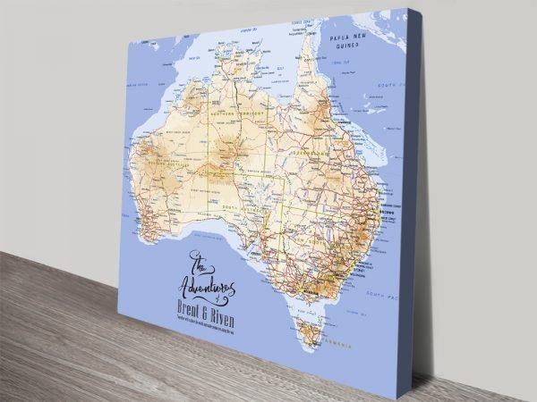 Australia Personalised Pushpin Map canvas print