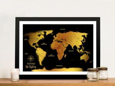 Black & Gold Push Pin Travel Map Wall Art