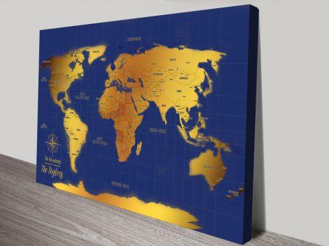 Blue & Gold Push Pin Travel Map Wall Art Canvas Print