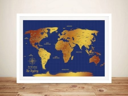 Blue & Gold Push Pin Travel Map Print On Canvas