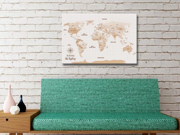 Push Pin Brown World Map Canvas Art Print