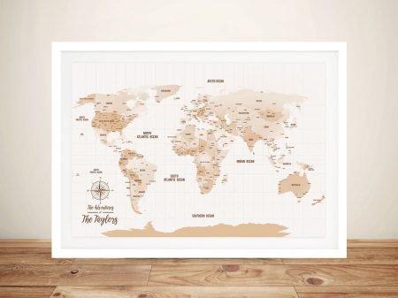 Mocha-Personalised-Push-Pinboard-Travel Map Gift Art
